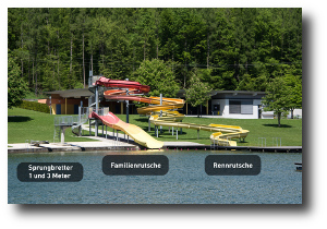 Water slides and spring boards at Lake Sonnensee